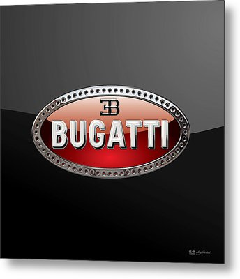 Bugatti - 3d Badge On Black Metal Print by Serge Averbukh