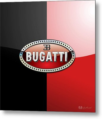 Bugatti 3 D Badge On Red And Black  Metal Print by Serge Averbukh