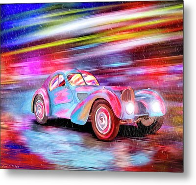 Metal Print featuring the mixed media Bugatti In The Rain - Vintage Dreams by Mark Tisdale