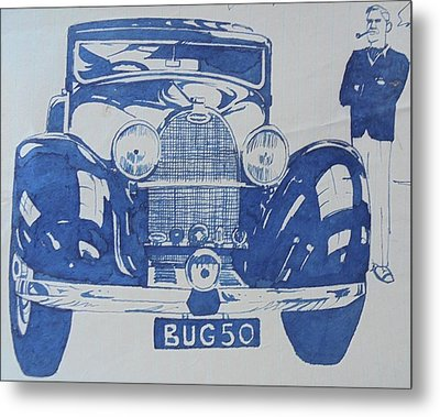 Metal Print featuring the drawing Bugatti by Mike Jeffries