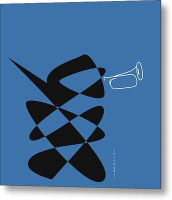 Metal Print featuring the digital art Bugle In Blue by David Bridburg