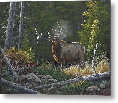 Metal Print featuring the painting Bugling Bull by Kim Lockman