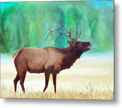 Metal Print featuring the painting Bugling Elk by Sherril Porter