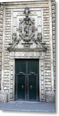 Building Artwork And Old Door In Barcelona Metal Print