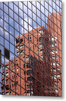 Building Reflection Metal Print by Tony Cordoza