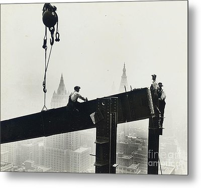 Building The Empire State Building Metal Print by LW Hine