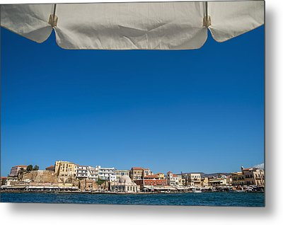 Buildings Along The Harbour  Chania Metal Print by Dosfotos