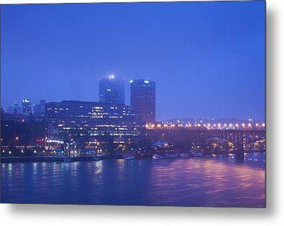 Buildings At The Riverside Lit Metal Print by Panoramic Images