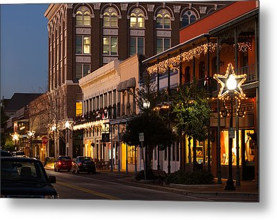 Buildings Lit Up At Dusk, Palafox Metal Print by Panoramic Images