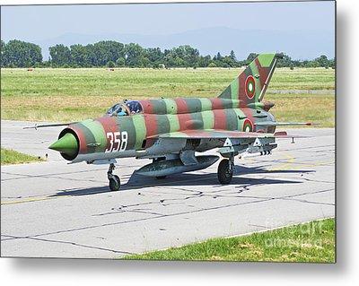 Bulgarian Air Force Mig-21 Taxiing Metal Print