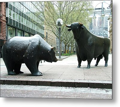 Bull And Bear Metal Print by Martina Fagan