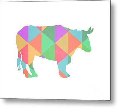Bull Cow Triangles Metal Print by Edward Fielding