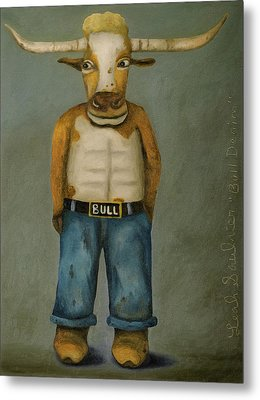 Metal Print featuring the painting Bull Denim by Leah Saulnier The Painting Maniac