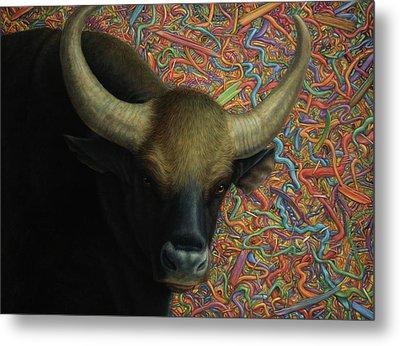 Bull In A Plastic Shop Metal Print