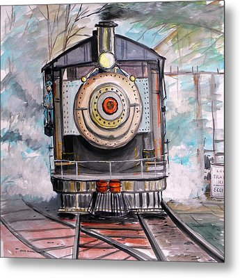 Metal Print featuring the painting Bull Locomotive by John Williams