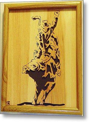 Bull-rider Metal Print by Russell Ellingsworth