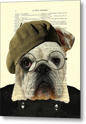 Bulldog Portrait, Animals In Clothes Metal Print by Madame Memento