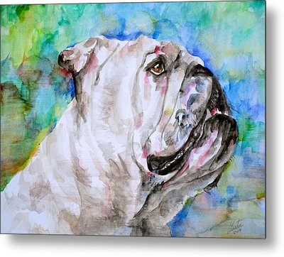 Metal Print featuring the painting Bulldog - Watercolor Portrait.4 by Fabrizio Cassetta