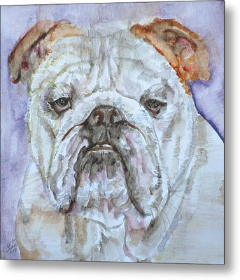 Metal Print featuring the painting Bulldog - Watercolor Portrait.5 by Fabrizio Cassetta
