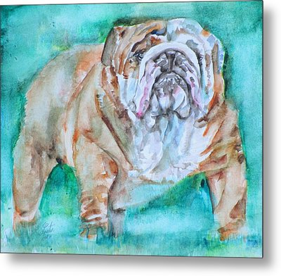 Metal Print featuring the painting Bulldog - Watercolor Portrait.6 by Fabrizio Cassetta
