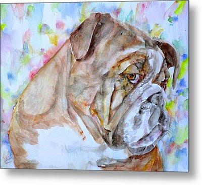 Metal Print featuring the painting Bulldog - Watercolor Portrait.7 by Fabrizio Cassetta