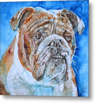 Metal Print featuring the painting Bulldog - Watercolor Portrait.8 by Fabrizio Cassetta