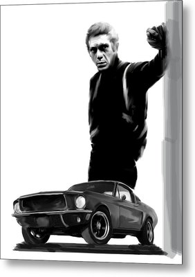 Bullitt Cool  Steve Mcqueen Metal Print by Iconic Images Art Gallery David Pucciarelli