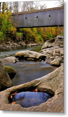 Bulls Bridge - Autumn Scene Metal Print by Thomas Schoeller