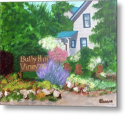 Metal Print featuring the painting Bully Hill Vineyard by Cynthia Morgan