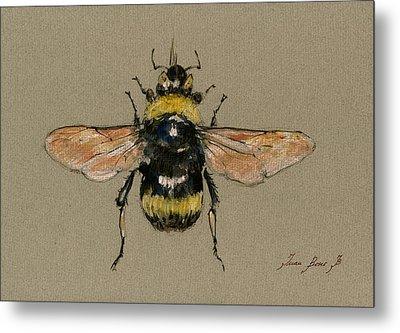 Bumble Bee Art Wall Metal Print by Juan  Bosco