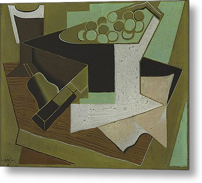 Bunch Of Grapes And Pear Metal Print by Juan Gris