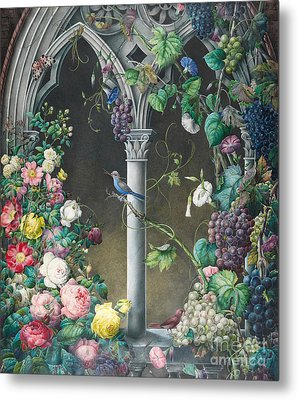 Bunches Of Roses Ipomoea And Grapevines Metal Print by Eugene Joseph Prevost
