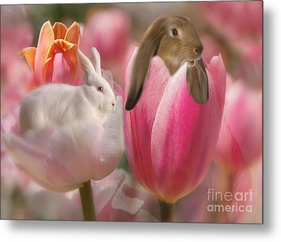 Bunny Blossoms Metal Print by Elaine Manley