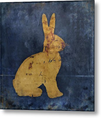 Bunny In Blue Metal Print by Carol Leigh