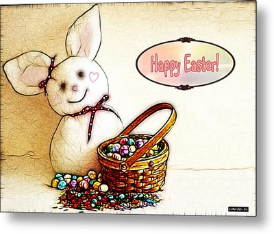 Bunny N Eggs Card Metal Print