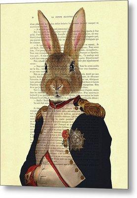 Bunny Portrait Illustration Metal Print