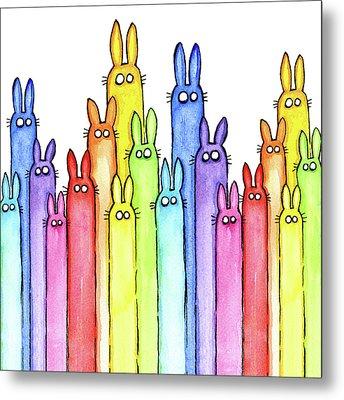 Bunny Rainbow Pattern Metal Print
