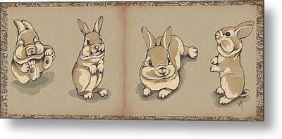 Bunny Sketch Metal Print by Veronica Minozzi