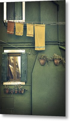 Burano - Green House Metal Print by Joana Kruse