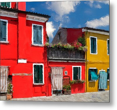 Metal Print featuring the photograph Burano Color Houses. by Juan Carlos Ferro Duque