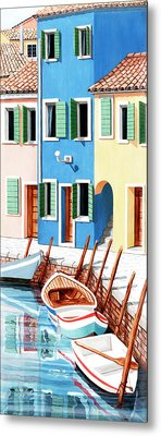 Burano, Italy, Prints From Original Oil Painting Metal Print