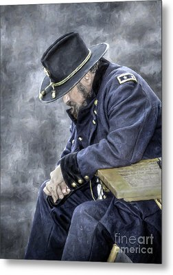 Burden Of War Civil War Union General Metal Print by Randy Steele