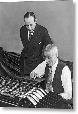 Bureau Check Signing Machine Metal Print by Underwood Archives