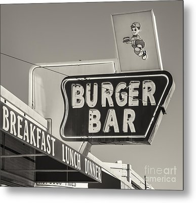 Burger Bar Bw Metal Print by Jerry Fornarotto