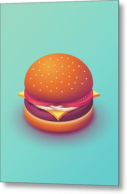 Burger Isometric - Plain Mint Metal Print by Ivan Krpan