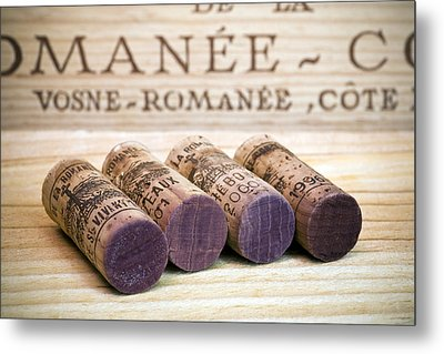 Burgundy Wine Corks Metal Print by Frank Tschakert