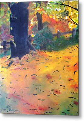 Metal Print featuring the painting Buried In Autumn Leaves by Gary Smith