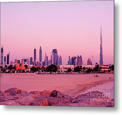 Burj Khalifa Previously Burj Dubai At Sunset Metal Print by Chris Smith