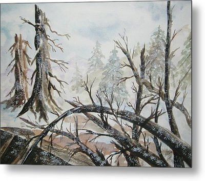Metal Print featuring the painting Burned Forest In The Snow by Ellen Levinson
