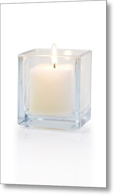 Burning Candle Side View 20 Degree Metal Print by Atiketta Sangasaeng